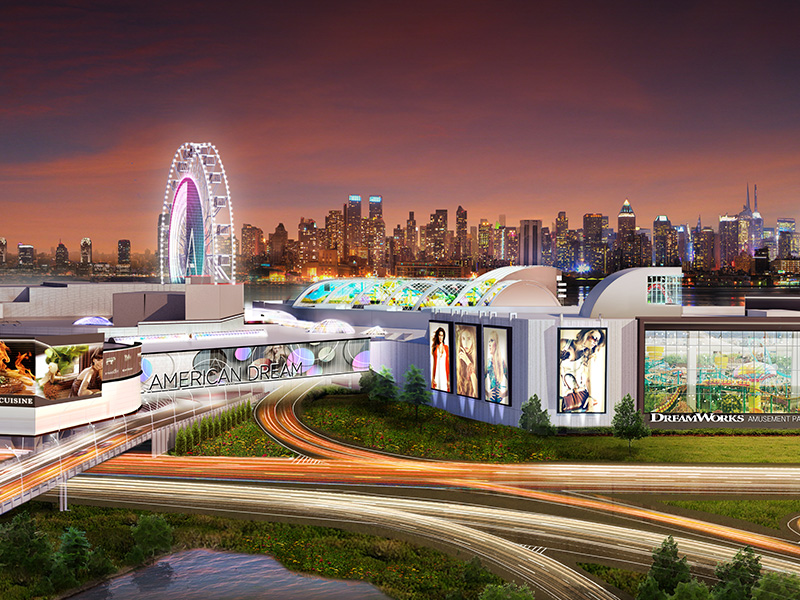 The outdoor ferris wheel on the property will offer visitors spectacular views of the Manhattan skyline across the Hudson River.