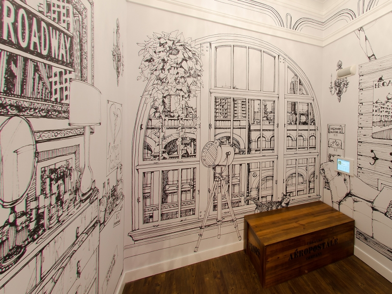 Each fitting room has a unique hand-drawn mural that represents the character of a selected New York City neighborhood